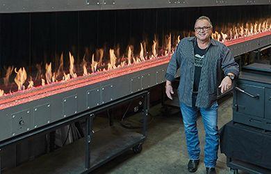 Travis Industries 66-foot-long fireplace