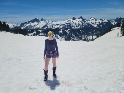 Christina Cozzens climbing Mt. Rainier